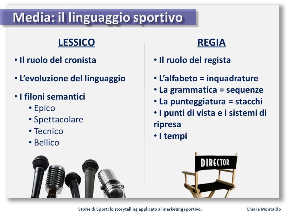 Storie di Sport: lo storytelling applicato al marketing sportivo. Chiara Montaldo Media: il linguaggio sportivo LESSICOREGIA Il ruolo del cronista Lev
