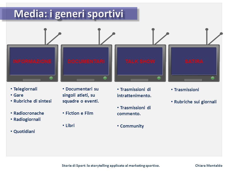 Storie di Sport: lo storytelling applicato al marketing sportivo. Chiara Montaldo Media: i generi sportivi INFORMAZIONEDOCUMENTARITALK SHOWSATIRA Tele