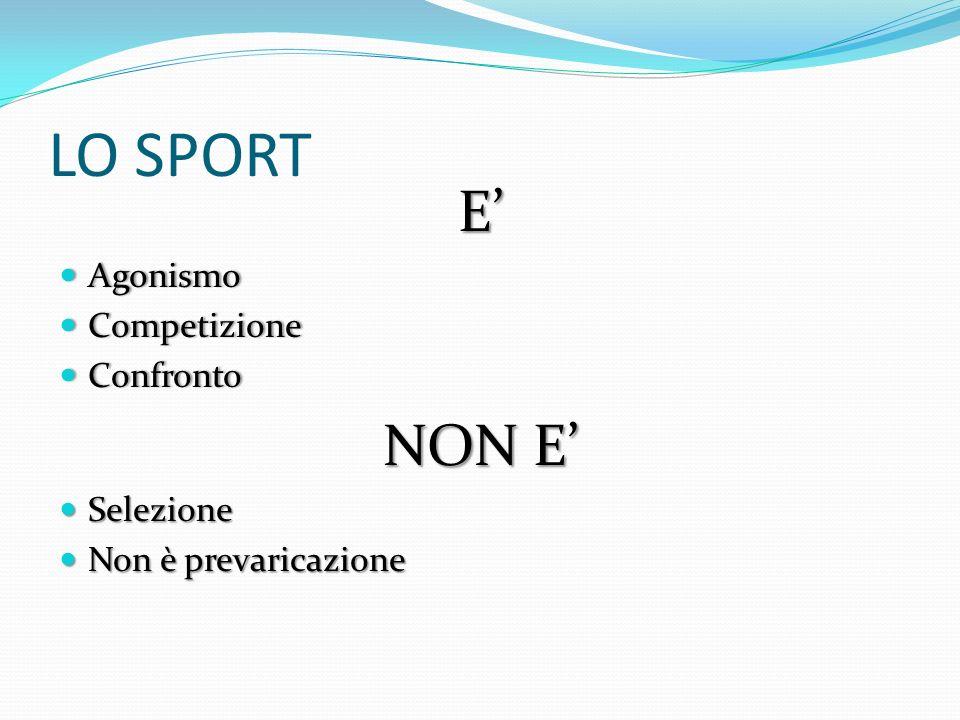 LO SPORT E Agonismo Agonismo Competizione Competizione Confronto Confronto NON E Selezione Selezione Non è prevaricazione Non è prevaricazione