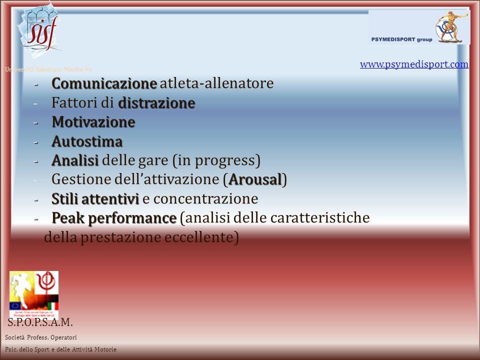 www.psymedisport.com Università Salesiana Mestre-Ve -Immagine corporea dellansiastress -Gestione dellansia e dello stress -Emozioni -Emozioni facilitanti ed inibenti (Profilo emozionale di Y.