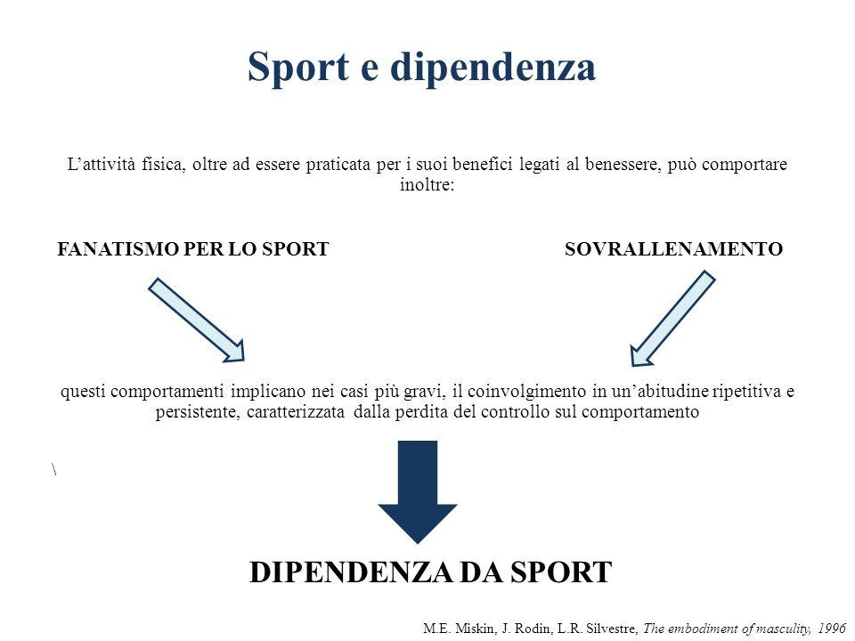 Sport e dipendenza Lattività fisica, oltre ad essere praticata per i suoi benefici legati al benessere, può comportare inoltre: FANATISMO PER LO SPORT
