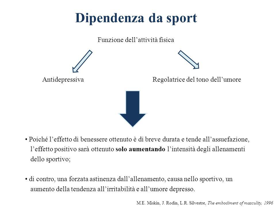 Dipendenza da sport Funzione dellattività fisica AntidepressivaRegolatrice del tono dellumore Poiché leffetto di benessere ottenuto è di breve durata