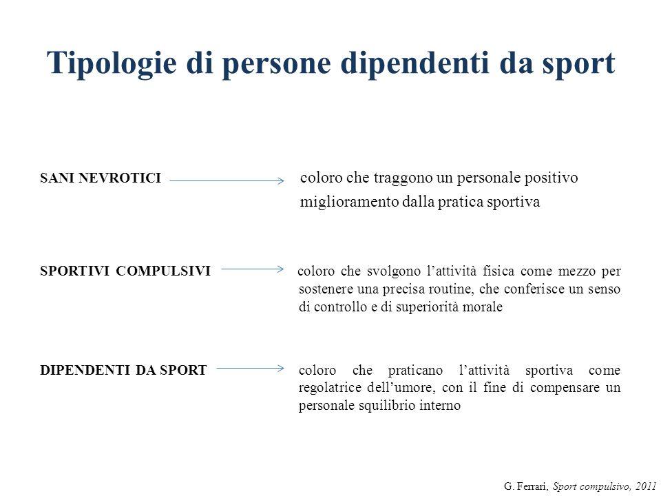 Tipologie di persone dipendenti da sport SANI NEVROTICI coloro che traggono un personale positivo miglioramento dalla pratica sportiva SPORTIVI COMPUL