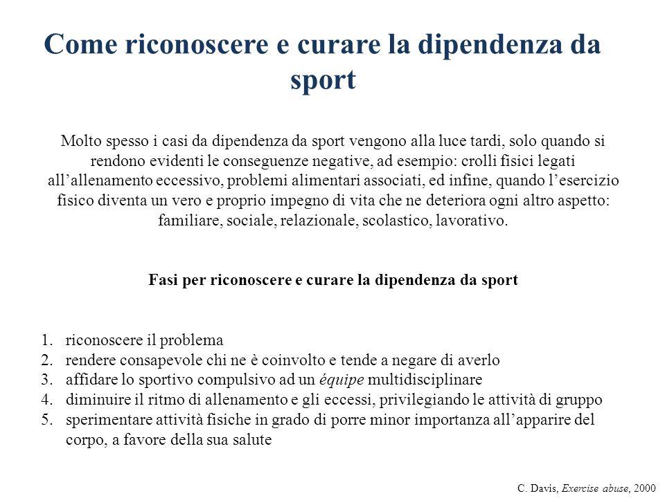 Come riconoscere e curare la dipendenza da sport Molto spesso i casi da dipendenza da sport vengono alla luce tardi, solo quando si rendono evidenti l