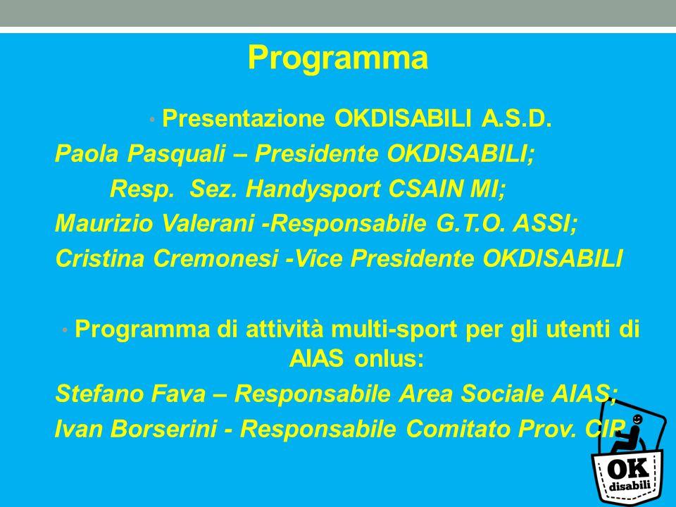 Programma Presentazione OKDISABILI A.S.D. Paola Pasquali – Presidente OKDISABILI; Resp. Sez. Handysport CSAIN MI; Maurizio Valerani -Responsabile G.T.