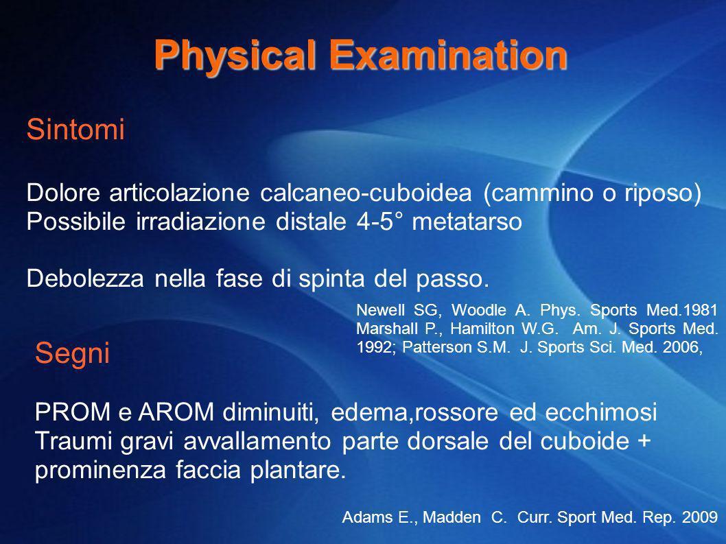 Physical Examination Sintomi Dolore articolazione calcaneo-cuboidea (cammino o riposo) Possibile irradiazione distale 4-5° metatarso Debolezza nella f