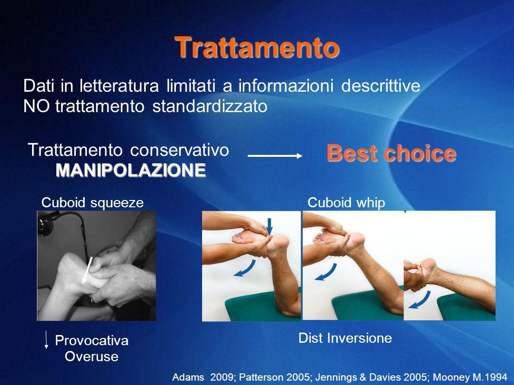 Trattamento Dati in letteratura limitati a informazioni descrittive NO trattamento standardizzato Trattamento conservativo MANIPOLAZIONE MANIPOLAZIONE