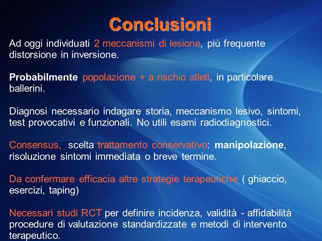 Conclusioni Ad oggi individuati 2 meccanismi di lesione, più frequente distorsione in inversione. Probabilmente popolazione + a rischio atleti, in par