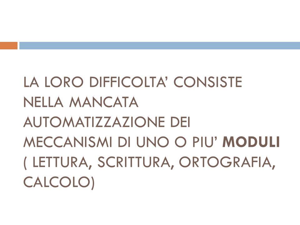 Essendo la nostra una lingua trasparente per la quasi totale corrispondenza tra grafema e fonema il parametro più attendibile per la diagnosi in Italia e la velocità di lettura (due deviazioni standard in meno rispetto alla media) e non laccuratezza