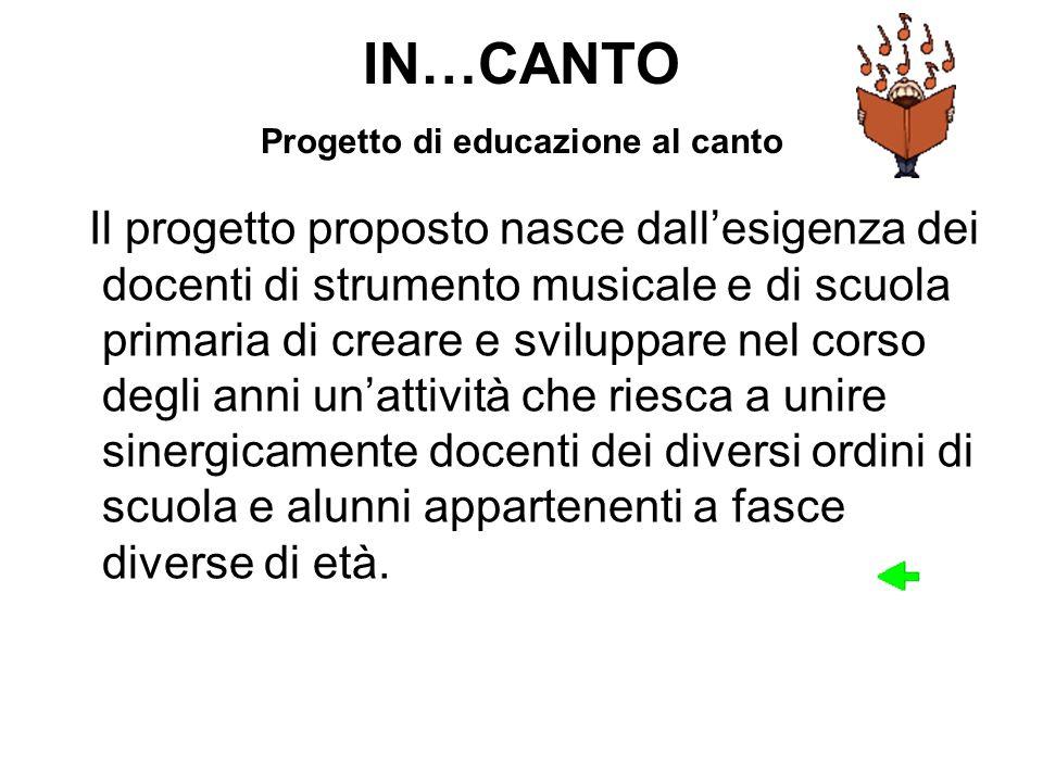 IN…CANTO Progetto di educazione al canto Il progetto proposto nasce dallesigenza dei docenti di strumento musicale e di scuola primaria di creare e sv
