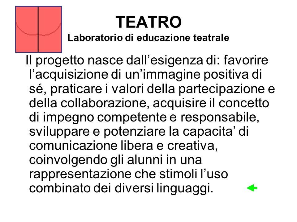 TEATRO Laboratorio di educazione teatrale Il progetto nasce dallesigenza di: favorire lacquisizione di unimmagine positiva di sé, praticare i valori d
