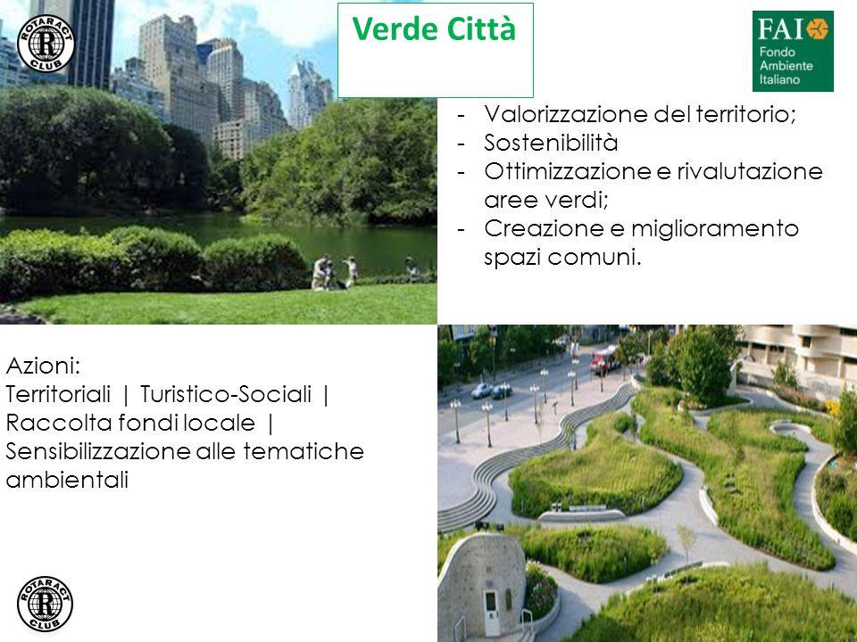 Azioni: Territoriali | Turistico-Sociali | Raccolta fondi locale | Sensibilizzazione alle tematiche ambientali -Valorizzazione del territorio; -Sostenibilità -Ottimizzazione e rivalutazione aree verdi; -Creazione e miglioramento spazi comuni.