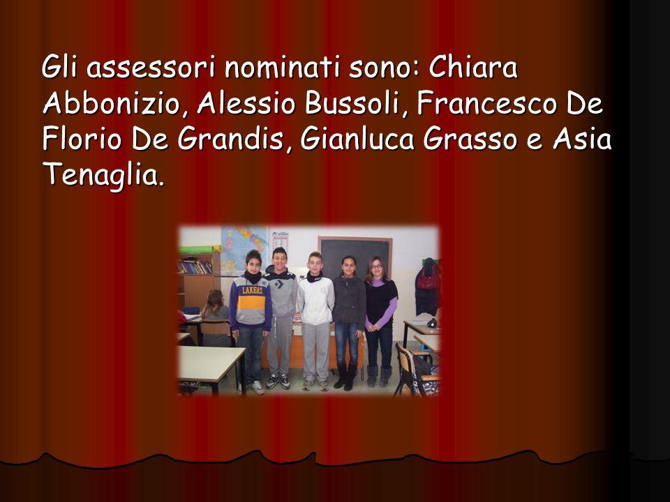 Gli assessori nominati sono: Chiara Abbonizio, Alessio Bussoli, Francesco De Florio De Grandis, Gianluca Grasso e Asia Tenaglia.