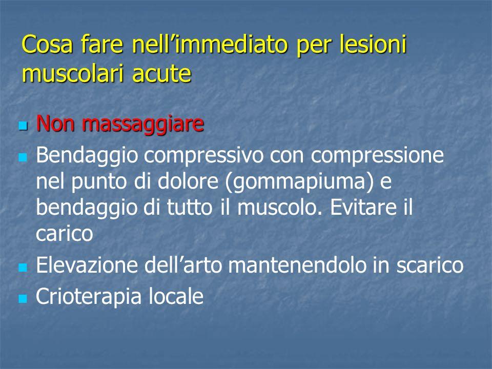 Lesione muscolare Marcata impotenza funzionale. Dolore vivo alla elongazione. Zoppia. Dolore alla palpazione.