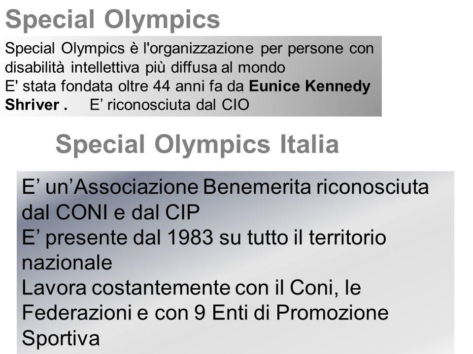 Special Olympics Italia Special Olympics è l organizzazione per persone con disabilità intellettiva più diffusa al mondo E stata fondata oltre 44 anni fa da Eunice Kennedy Shriver.
