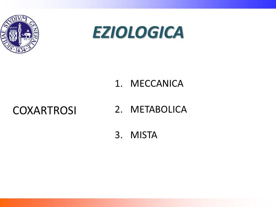 EZIOLOGICA 1.MECCANICA 2.METABOLICA 3.MISTA COXARTROSI