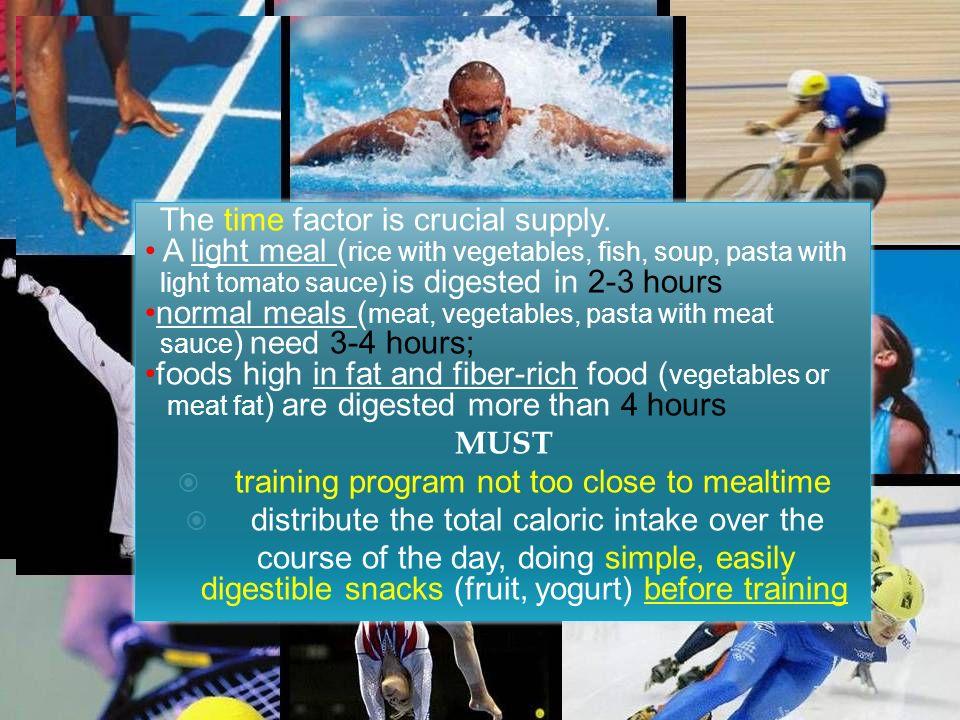 Altrettanto importanti sono i pasti post-allenamento e/o post/gara; devono infatti permettere il corretto recupero sia in termini di proteine che di glicogeno muscolare durante lattività fisica Il fattore tempo dellalimentazione è fondamentale.
