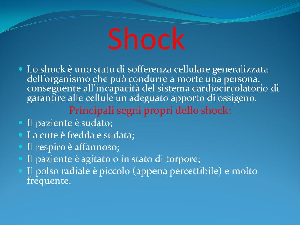 Shock Lo shock è uno stato di sofferenza cellulare generalizzata dellorganismo che può condurre a morte una persona, conseguente allincapacità del sis