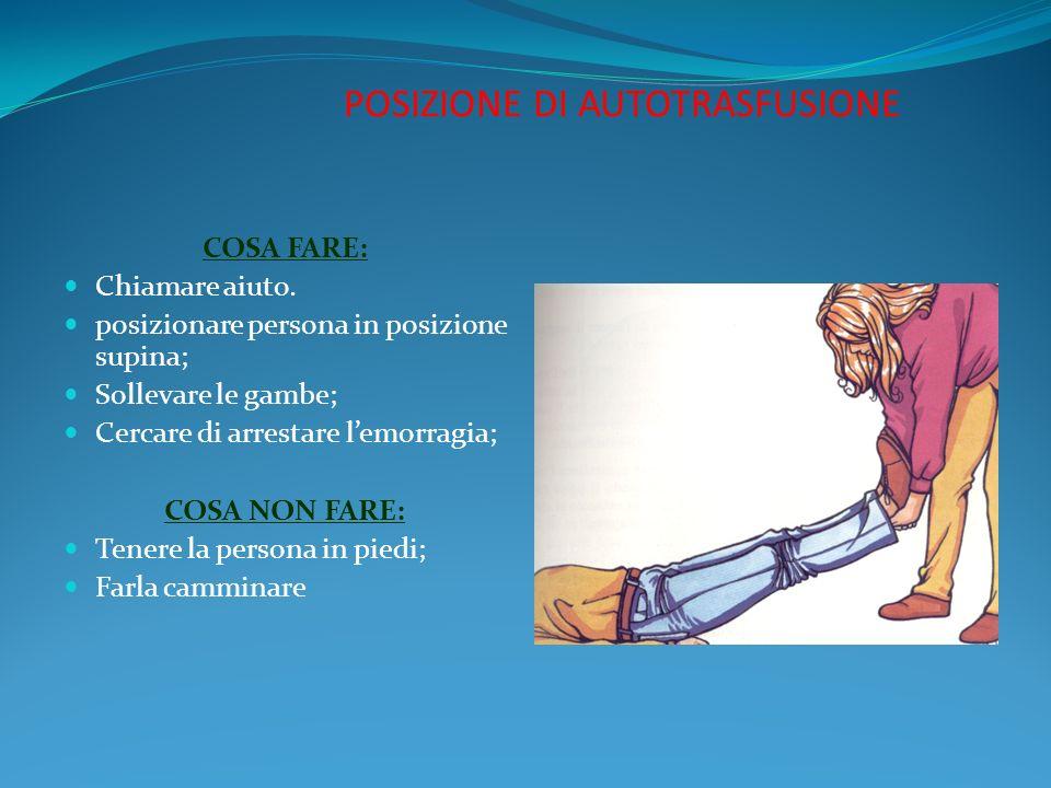 POSIZIONE DI AUTOTRASFUSIONE COSA FARE: Chiamare aiuto. posizionare persona in posizione supina; Sollevare le gambe; Cercare di arrestare lemorragia;