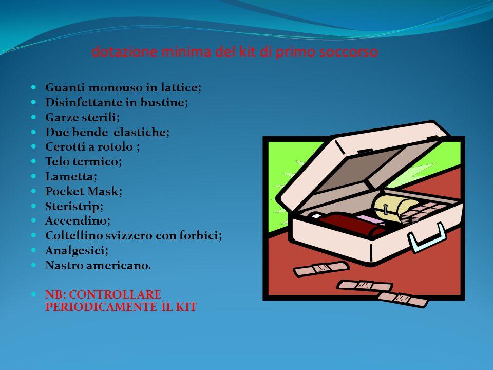 dotazione minima del kit di primo soccorso Guanti monouso in lattice; Disinfettante in bustine; Garze sterili; Due bende elastiche; Cerotti a rotolo ;