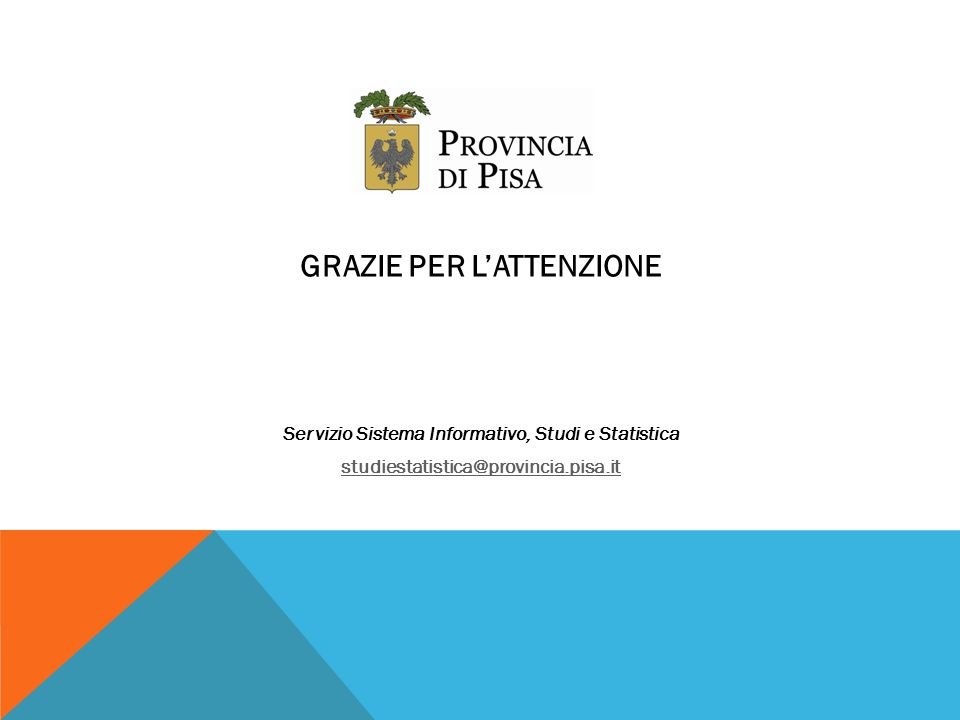 GRAZIE PER LATTENZIONE Servizio Sistema Informativo, Studi e Statistica studiestatistica@provincia.pisa.it