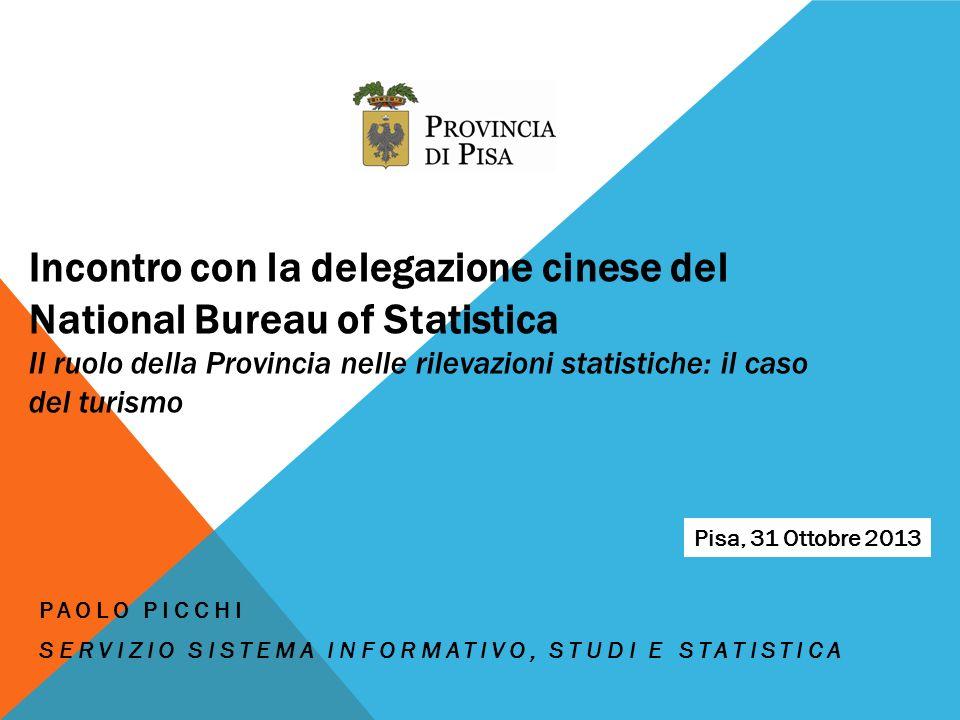 Incontro con la delegazione cinese del National Bureau of Statistica Il ruolo della Provincia nelle rilevazioni statistiche: il caso del turismo PAOLO PICCHI SERVIZIO SISTEMA INFORMATIVO, STUDI E STATISTICA Pisa, 31 Ottobre 2013