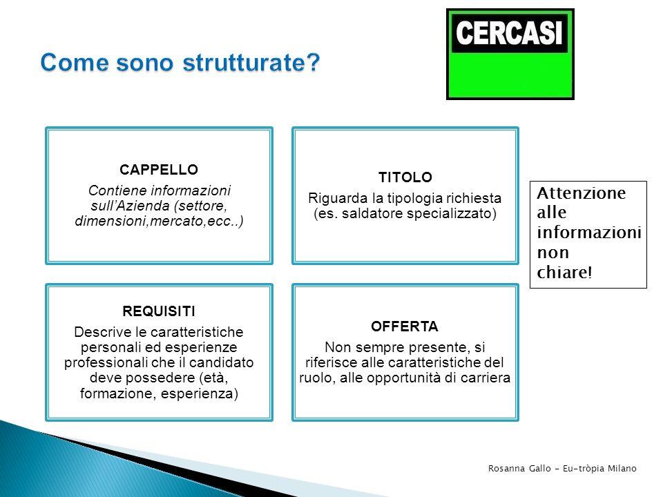 CAPPELLO Contiene informazioni sullAzienda (settore, dimensioni,mercato,ecc..) TITOLO Riguarda la tipologia richiesta (es. saldatore specializzato) RE