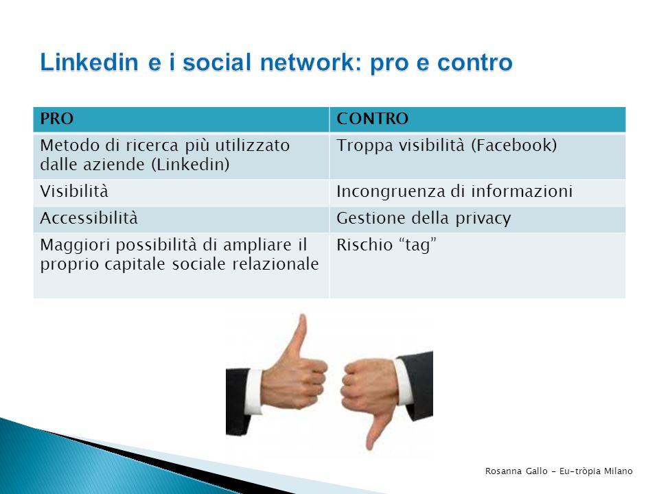 PROCONTRO Metodo di ricerca più utilizzato dalle aziende (Linkedin) Troppa visibilità (Facebook) VisibilitàIncongruenza di informazioni AccessibilitàG