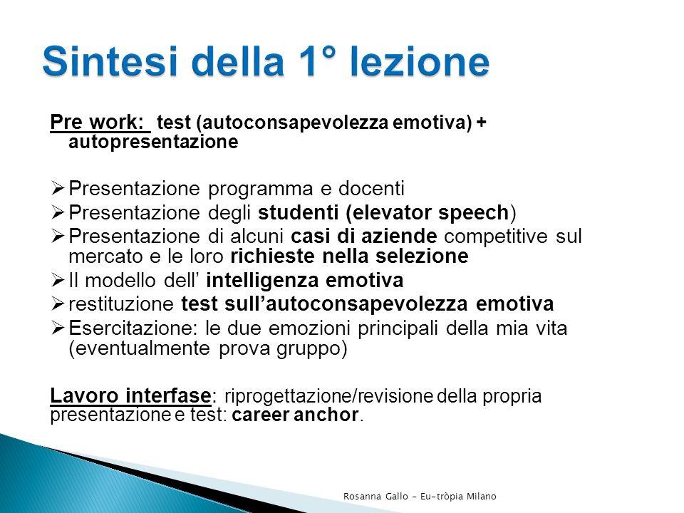 Pre work: test (autoconsapevolezza emotiva) + autopresentazione Presentazione programma e docenti Presentazione degli studenti (elevator speech) Prese