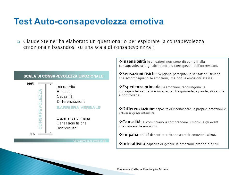 Claude Steiner ha elaborato un questionario per esplorare la consapevolezza emozionale basandosi su una scala di consapevolezza : Insensibilità : le e