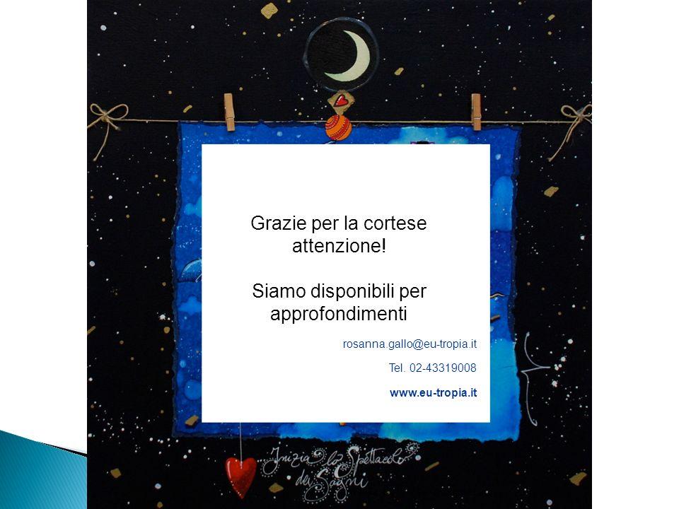 Grazie per la cortese attenzione! Siamo disponibili per approfondimenti rosanna.gallo@eu-tropia.it Tel. 02-43319008 www.eu-tropia.it Rosanna Gallo - E