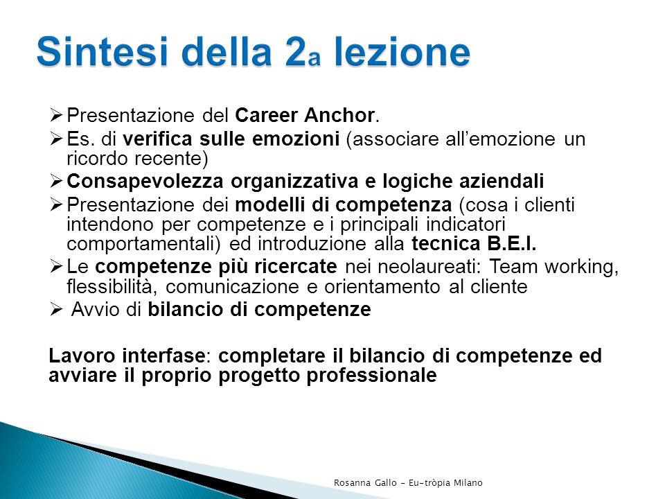 Presentazione del Career Anchor. Es. di verifica sulle emozioni (associare allemozione un ricordo recente) Consapevolezza organizzativa e logiche azie