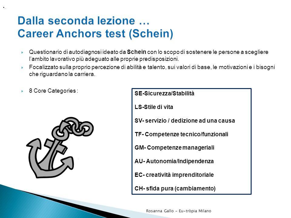 Questionario di autodiagnosi ideato da Schein con lo scopo di sostenere le persone a scegliere lambito lavorativo più adeguato alle proprie predisposi