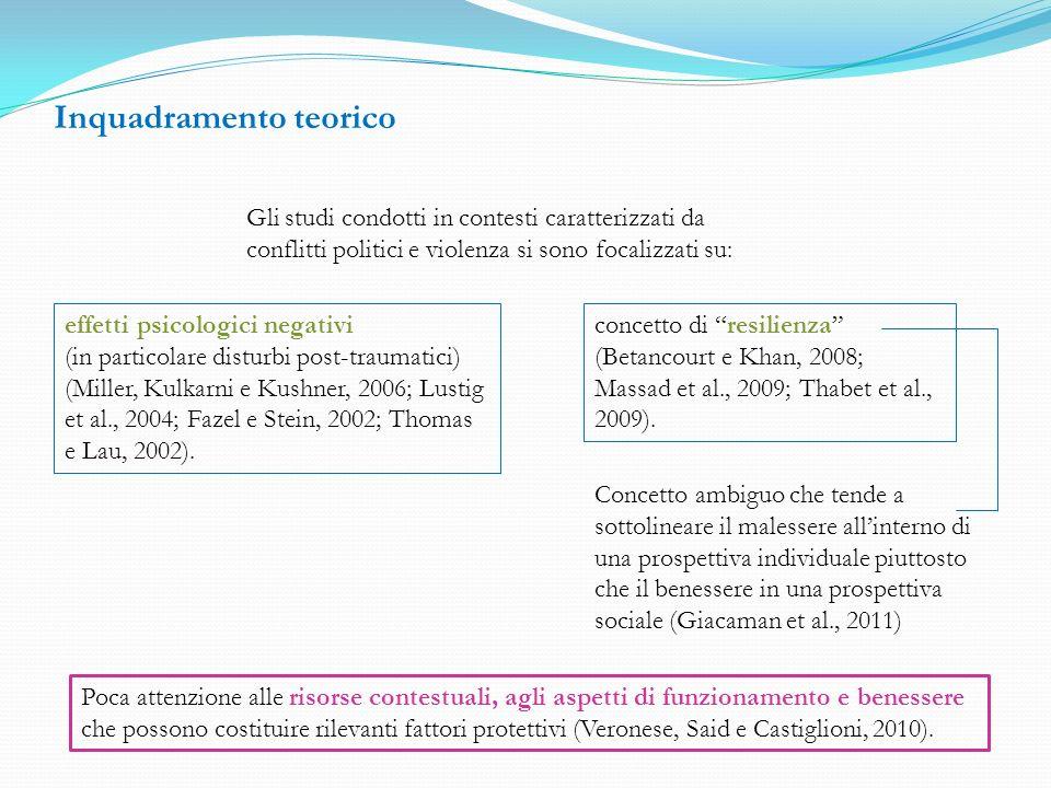 Inquadramento teorico Da alcune ricerche emerge che in condizioni di conflitti e violenze: unampia percentuale di bambini non sviluppa nessun sintomo, nonostante le condizioni ambientali avverse (Barber, 2008; Barber e Olsen, 2009; Sack, Clarke e Seeley, 1996; Veronese, Said e Castiglioni, 2011); tali condizioni influenzano il livello di benessere (Tol, Reis, Susanty e De Jong, 2010) le variabili contestuali hanno un impatto nel limitare gli effetti negativi sul livello di benessere (Boothby, Strang e Wessels, 2006; De Jong, 2002; Miller e Rasco, 2004) (Diener, 1984; Huebner and Dew, 1996) Concettualizzato in termini di Emozioni (positive e negative) e Soddisfazione di vita