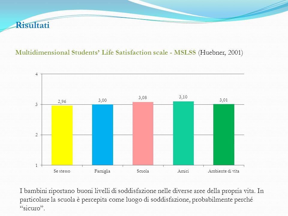Risultati Multidimensional Students Life Satisfaction scale - MSLSS (Huebner, 2001) I bambini riportano buoni livelli di soddisfazione nelle diverse aree della propria vita.