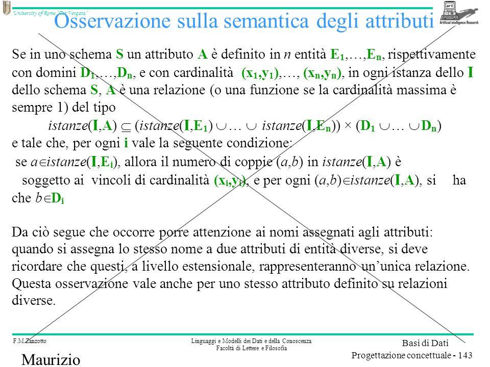 F.M.ZanzottoLinguaggi e Modelli dei Dati e della Conoscenza Facoltà di Lettere e Filosofia University of Rome Tor Vergata Basi di Dati Progettazione concettuale - 143 Maurizio Lenzerini Osservazione sulla semantica degli attributi Se in uno schema S un attributo A è definito in n entità E 1,…,E n, rispettivamente con domini D 1,…,D n, e con cardinalità (x 1,y 1 ),…, (x n,y n ), in ogni istanza dello I dello schema S, A è una relazione (o una funzione se la cardinalità massima è sempre 1) del tipo istanze( I,A) (istanze( I,E 1 ) … istanze( I,E n )) × (D 1 … D n ) e tale che, per ogni i vale la seguente condizione: se a istanze( I,E i ), allora il numero di coppie (a,b) in istanze( I,A) è soggetto ai vincoli di cardinalità (x i,y i ), e per ogni (a,b) istanze( I,A), si ha che b D i Da ciò segue che occorre porre attenzione ai nomi assegnati agli attributi: quando si assegna lo stesso nome a due attributi di entità diverse, si deve ricordare che questi, a livello estensionale, rappresenteranno ununica relazione.