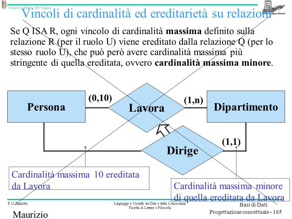 F.M.ZanzottoLinguaggi e Modelli dei Dati e della Conoscenza Facoltà di Lettere e Filosofia University of Rome Tor Vergata Basi di Dati Progettazione concettuale - 165 Maurizio Lenzerini Vincoli di cardinalità ed ereditarietà su relazioni Se Q ISA R, ogni vincolo di cardinalità massima definito sulla relazione R (per il ruolo U) viene ereditato dalla relazione Q (per lo stesso ruolo U), che può però avere cardinalità massima più stringente di quella ereditata, ovvero cardinalità massima minore.