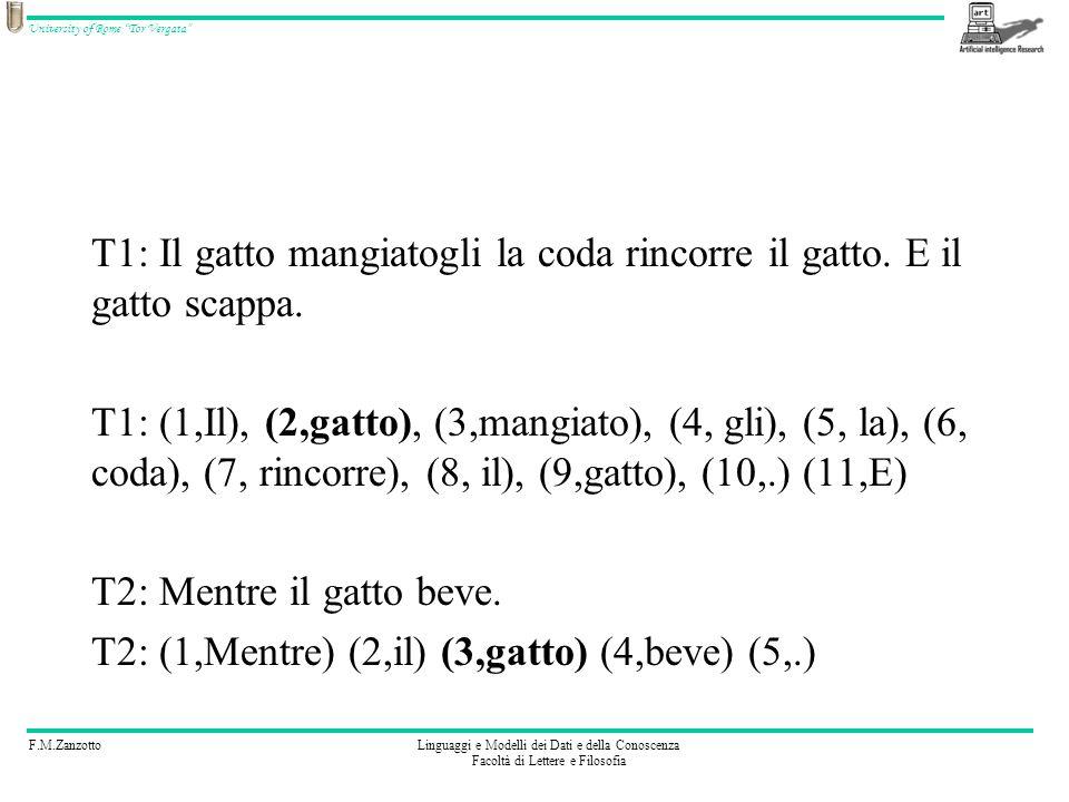 F.M.ZanzottoLinguaggi e Modelli dei Dati e della Conoscenza Facoltà di Lettere e Filosofia University of Rome Tor Vergata T1: Il gatto mangiatogli la coda rincorre il gatto.