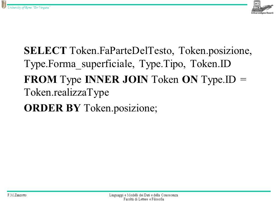 F.M.ZanzottoLinguaggi e Modelli dei Dati e della Conoscenza Facoltà di Lettere e Filosofia University of Rome Tor Vergata SELECT Token.FaParteDelTesto, Token.posizione, Type.Forma_superficiale, Type.Tipo, Token.ID FROM Type INNER JOIN Token ON Type.ID = Token.realizzaType ORDER BY Token.posizione;