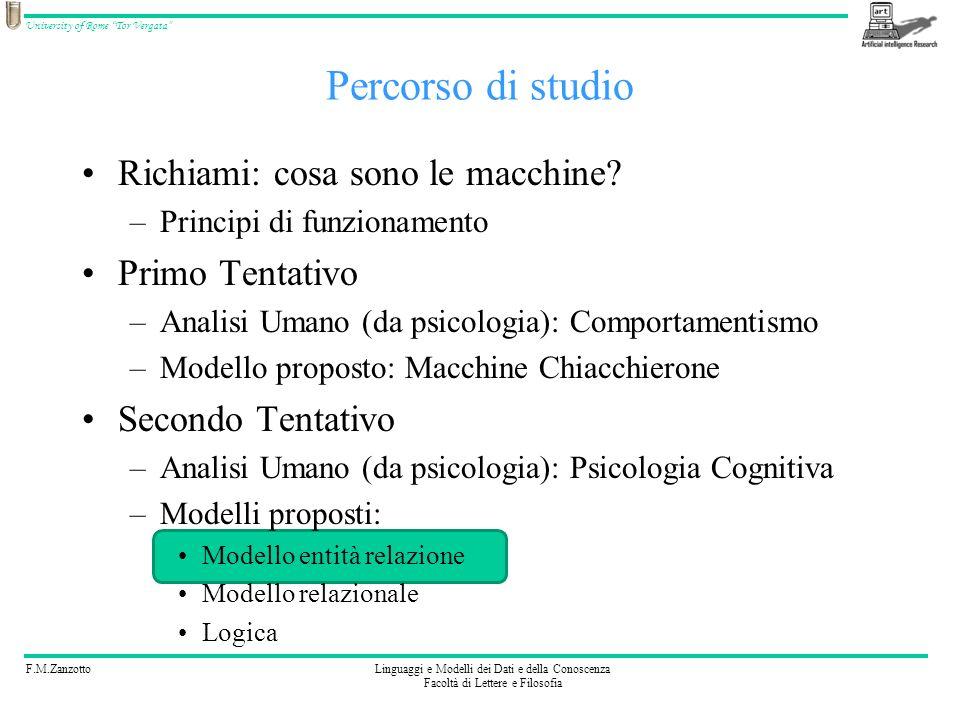 F.M.ZanzottoLinguaggi e Modelli dei Dati e della Conoscenza Facoltà di Lettere e Filosofia University of Rome Tor Vergata Richiami: cosa sono le macchine.