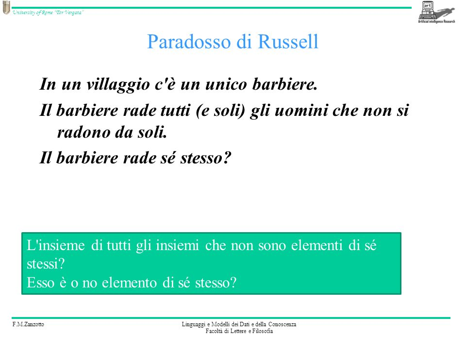 F.M.ZanzottoLinguaggi e Modelli dei Dati e della Conoscenza Facoltà di Lettere e Filosofia University of Rome Tor Vergata Paradosso di Russell In un villaggio c è un unico barbiere.