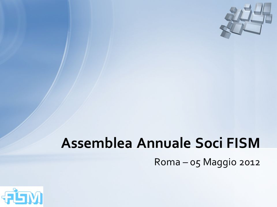 Assemblea Annuale Soci FISM – Roma – 05 Maggio 201212 Individuazione delle branche specialistiche per il raggruppamento delle Società Medico-Scientifiche in cluster omogenei - Riferimenti normativi utilizzati DPR 10/12/1997 n.