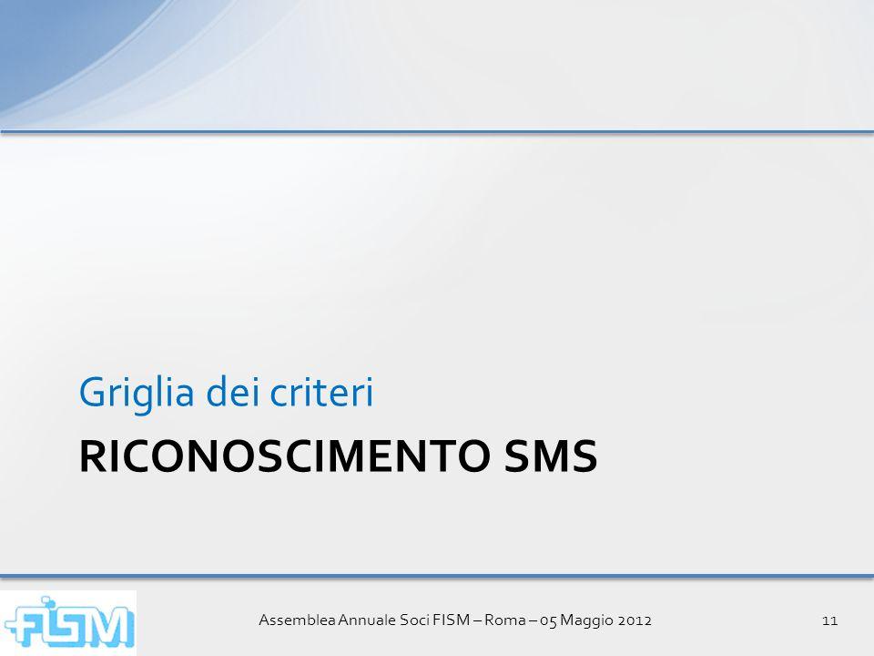 Assemblea Annuale Soci FISM – Roma – 05 Maggio 201211 RICONOSCIMENTO SMS Griglia dei criteri