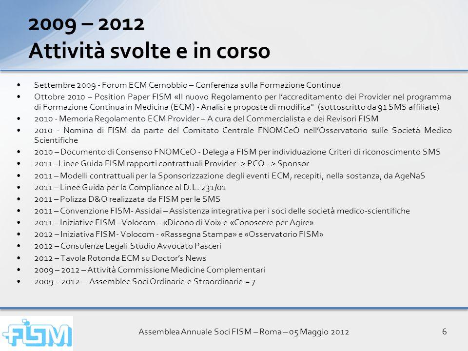 Assemblea Annuale Soci FISM – Roma – 05 Maggio 20126 Settembre 2009 - Forum ECM Cernobbio – Conferenza sulla Formazione Continua Ottobre 2010 – Positi