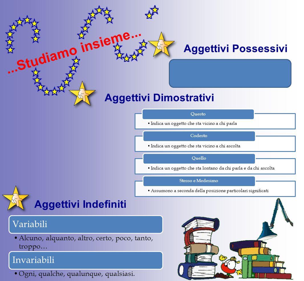Aggettivi PossessiviAggettivi Dimostrativi Aggettivi Indefiniti...Studiamo insieme...