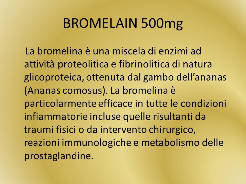 BROMELAIN 500mg La bromelina è una miscela di enzimi ad attività proteolitica e fibrinolitica di natura glicoproteica, ottenuta dal gambo dellananas (