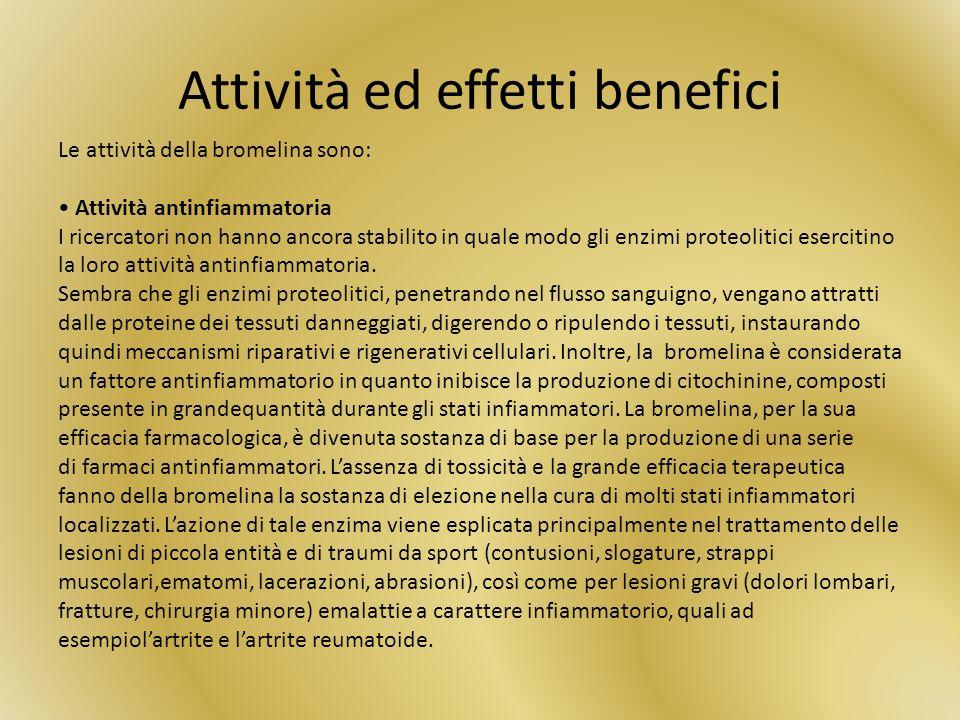 Attività ed effetti benefici Le attività della bromelina sono: Attività antinfiammatoria I ricercatori non hanno ancora stabilito in quale modo gli enzimi proteolitici esercitino la loro attività antinfiammatoria.