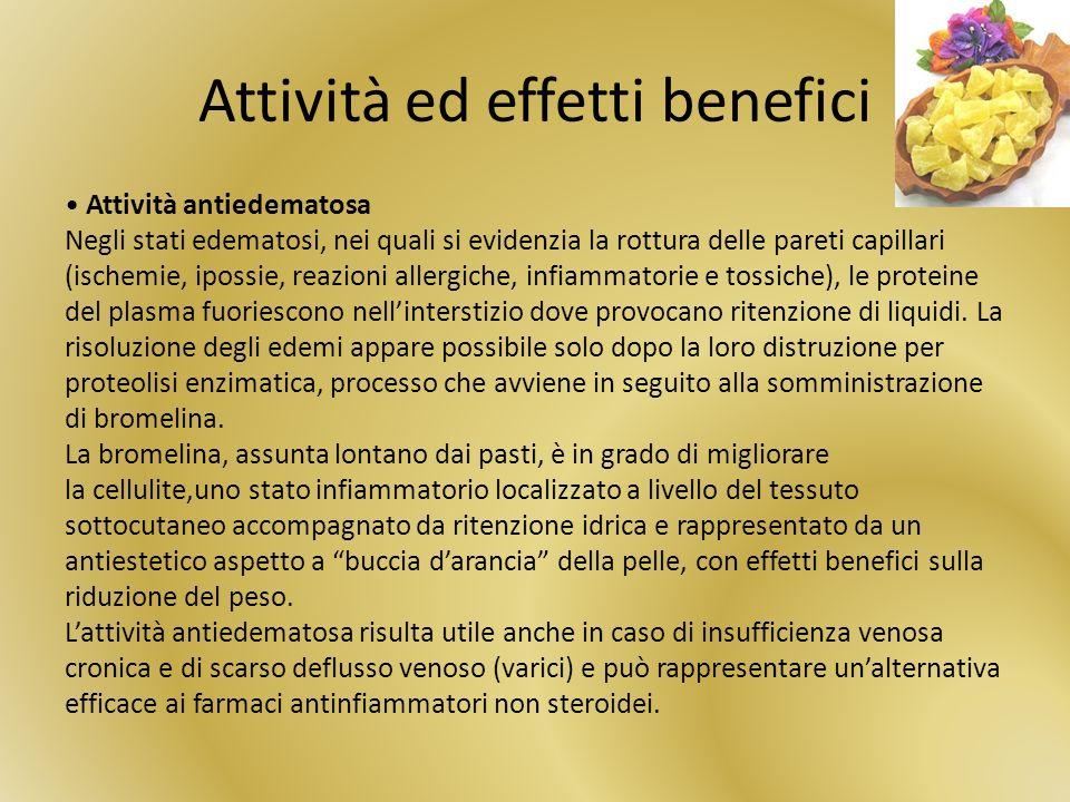 Attività ed effetti benefici Attività antiedematosa Negli stati edematosi, nei quali si evidenzia la rottura delle pareti capillari (ischemie, ipossie