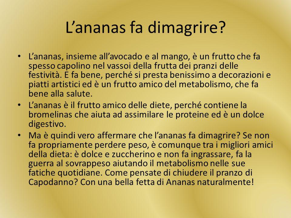 Lananas fa dimagrire? Lananas, insieme allavocado e al mango, è un frutto che fa spesso capolino nel vassoi della frutta dei pranzi delle festività. E