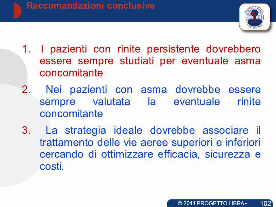 Raccomandazioni conclusive 102 © 2011 PROGETTO LIBRA www.progetto-aria.it 1.I pazienti con rinite persistente dovrebbero essere sempre studiati per ev